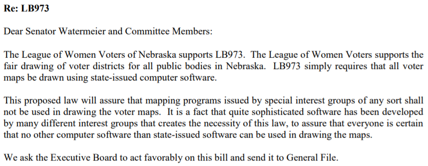Letter supporting LB 973