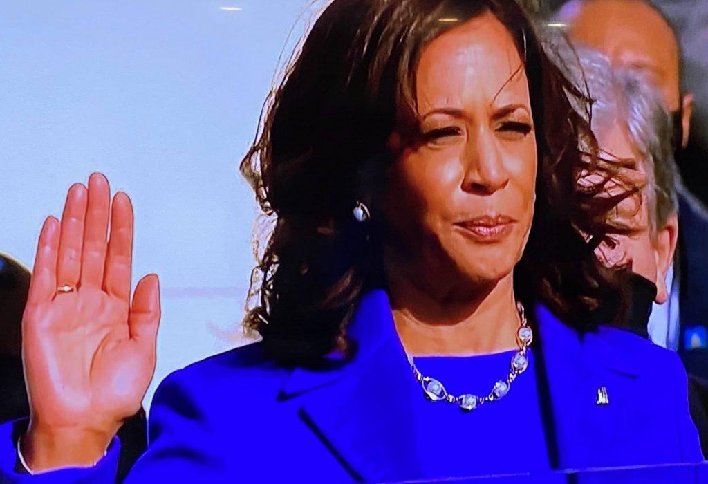 Vice President Kamala Harris taking the oath of office