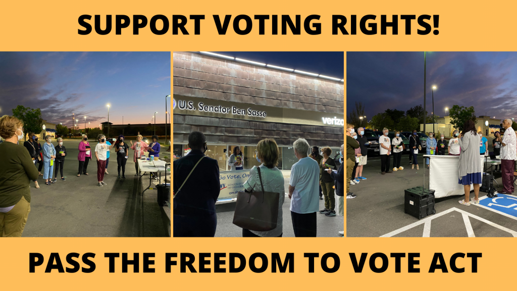 Pictures for vigil for voting rights