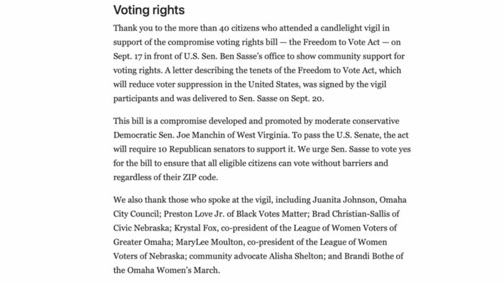 Letter to editor to support the Freedom to Vote Act